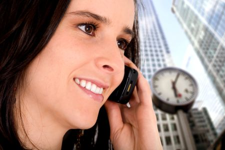 business woman on the phone in a corporate environment
