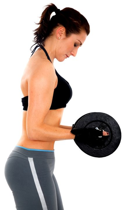 girl doing freeweights - isolated over a white background