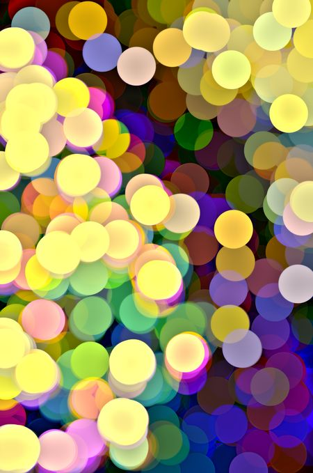 Multicolored festive abstract of many overlapping large dots, in bunches like grapes, with three-dimensional effect, for background and decoration with motifs of variety and synergy