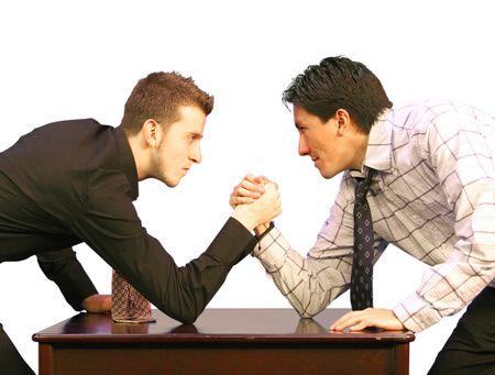 arm restling business men