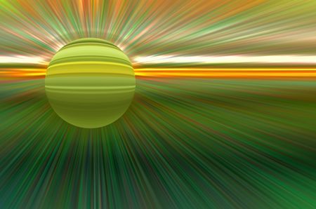 Imaginary abstract of a banded planet with a faint halo in front of a source of radially blurred energy beams, for themes of otherworldliness, cosmic events, or alternate reality (one of a series)