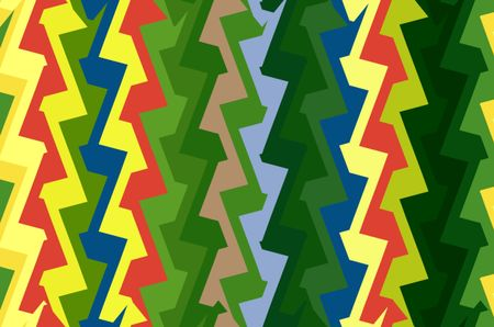Festive multicolored abstract pattern of zigzags like a dream collection of lightning bolts