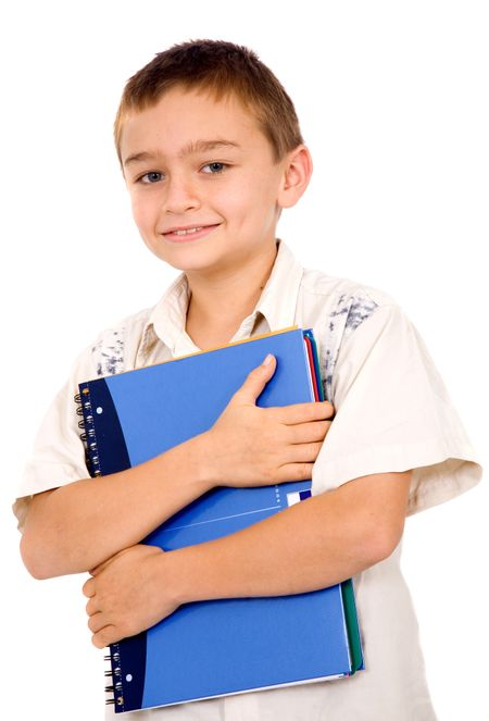 kid holding a notebook – isolated over a white background