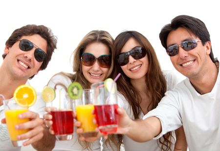 Group of friends with cocktails and sunglasses isolated