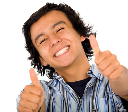 happy guy with a big smile doing the thumbs up - isolated over a white background