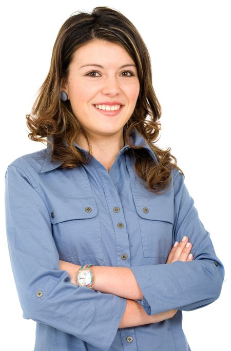 young business woman portrait smiling - isolated over a white background