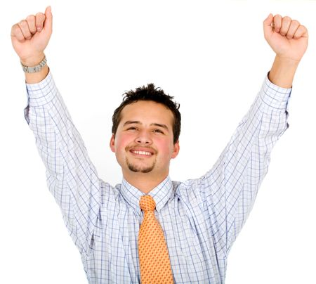 successful business man smiling with arms up - isolated over a white background