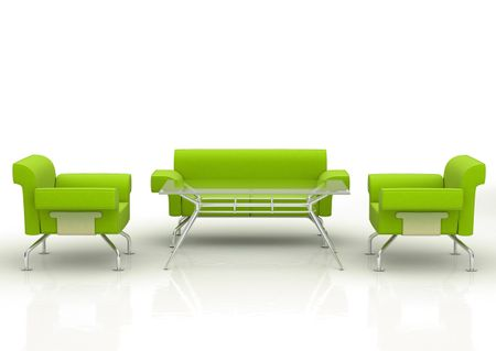 green office sofa and armcharis with table - isolated over a white background