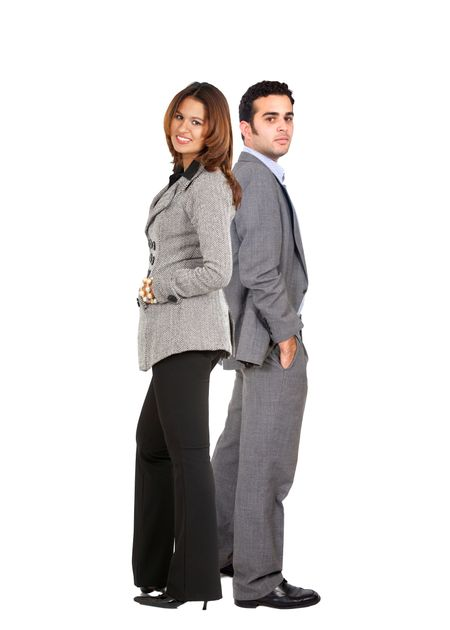 Business couple standing isolated over a white background