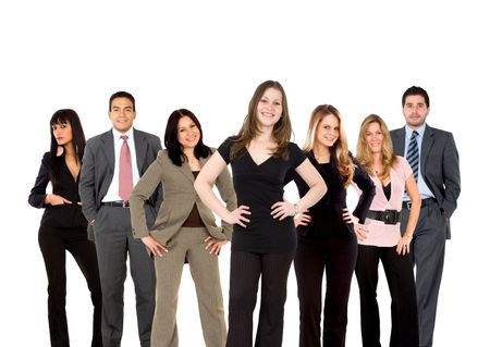 business team smiling and standing up isolated over a white background