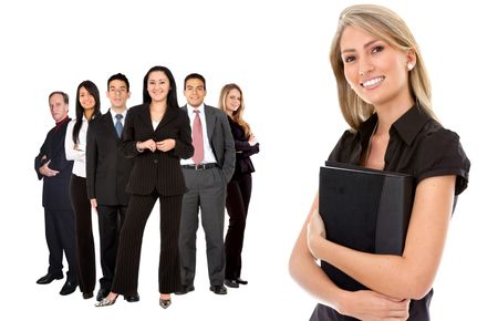 isolated business team  holding a portfolio over white