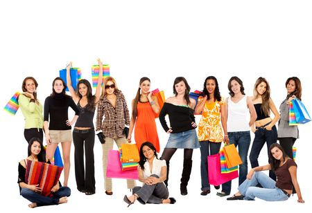 Large group of casual women standing isolated