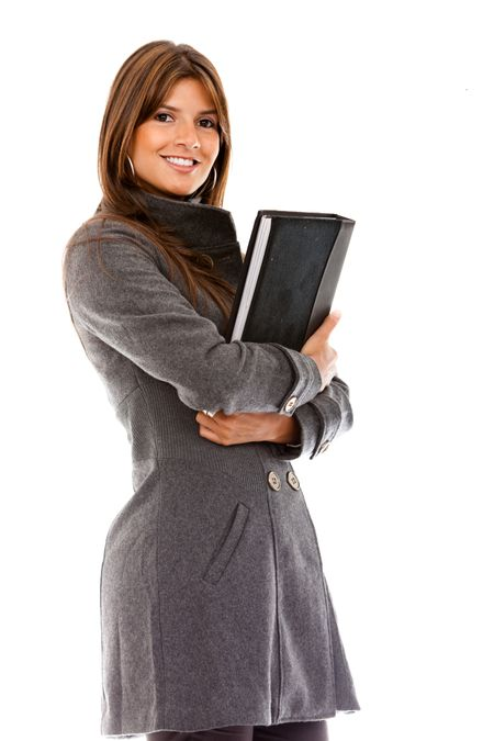 isolated business woman holding a portfolio over a white background