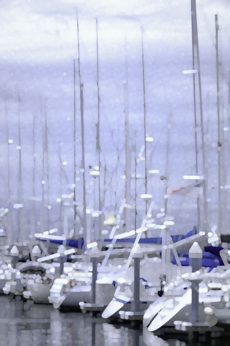 Harbor abstract: Impressionistic illustration of yachts docked together on a cloudy day at Shilshole Bay Marina in Seattle, Washington, USA