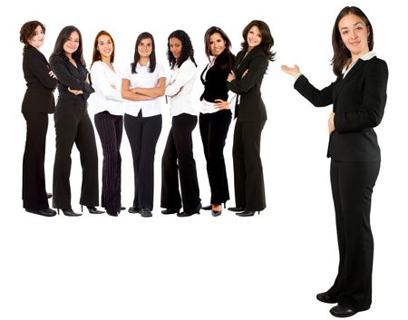 Business woman displaying a women group isolated