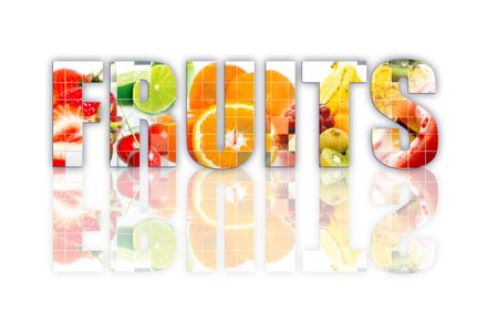 """Word """"fruits"""" writen over a white background"""