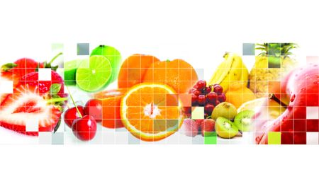 All kind of fruits mosaic - white background