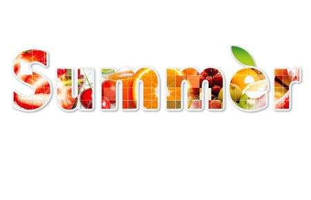 Mix of summer fruits over a white background