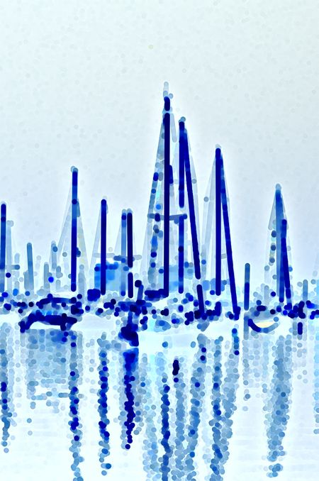 Minimalist abstract of sailboats at anchor together, mostly shades of cyan and blue, with reflections, in a tropical marina (one of a series)