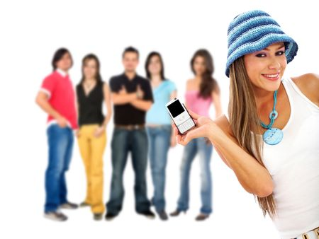 casual girl showing her phone to some people isolated