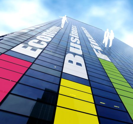 colorful business building pointing towards the sky