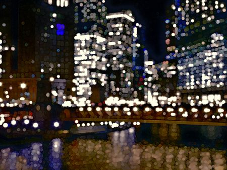 Abstract illustration of city lights with reflections on river below skyscrapers at night