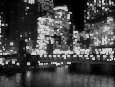 Abstract of city lights in black and white, with reflections of river below skyscrapers at night