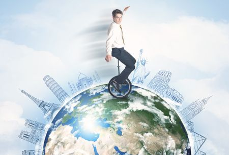 """Man riding unicycle around the globe with major cities concept, """"""""Elements of this image furnished by NASA"""""""""""
