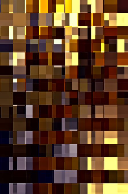 Multicolored mosaic of overlapping rectangles in rows and columns for themes of variety and multiplicity in decoration and background