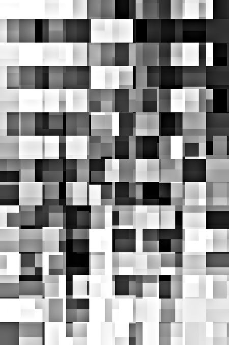 Kaleidoscopic abstract of rows and columns of overlapping rectangles, in black and white, for urban or architectural themes of complexity, variety, multiplicity