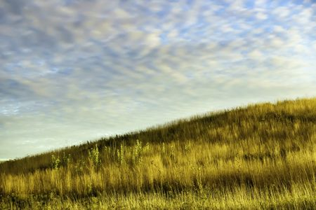 Magic hour on a fall afternoon: Hillside with tall grass and other prairie plants in swathes of light and shadow, with pattern of high clouds glowing softly in blue sky, near sunset in mid October