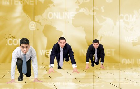 business men on their knees ready to compete