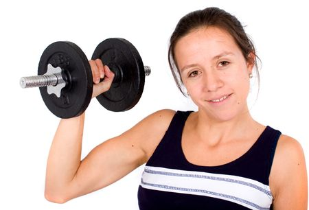 girl lifting freeweights - isolated over a white background