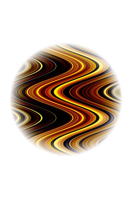 Imaginary abstract of globe with contiguous waves, like a planet with a swirling atmosphere on fire, on a white background, for astronomical or speculative themes