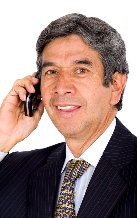 business man on the phone - isolated over a white background
