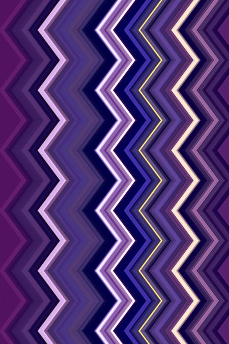 Varicolored flippable geometric abstract of vertical zigzags with much violet and blue, for decoration and background with motifs of variation and alternation