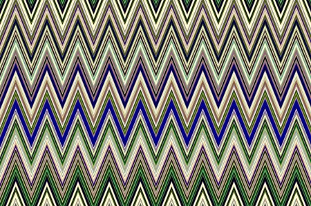 Varicolored pattern of contiguous zigzag stripes in geometric pattern with motifs of variation, conformity, synergy