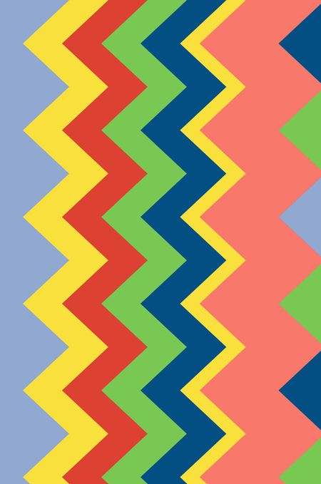 Multicolored background of small triangles and contiguous zigzag stripes with art deco motif