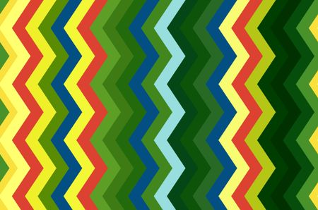 Multicolored pattern of contiguous vertical zigzag stripes for decoration and background with motifs of repetition, variation, synergy