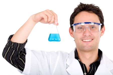 male chemistry student smiling with a blue liquid test tube - isolated over a white background