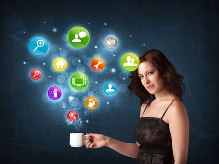 Businesswoman standing and holding a white cup with colorful setting icons coming out of the cup
