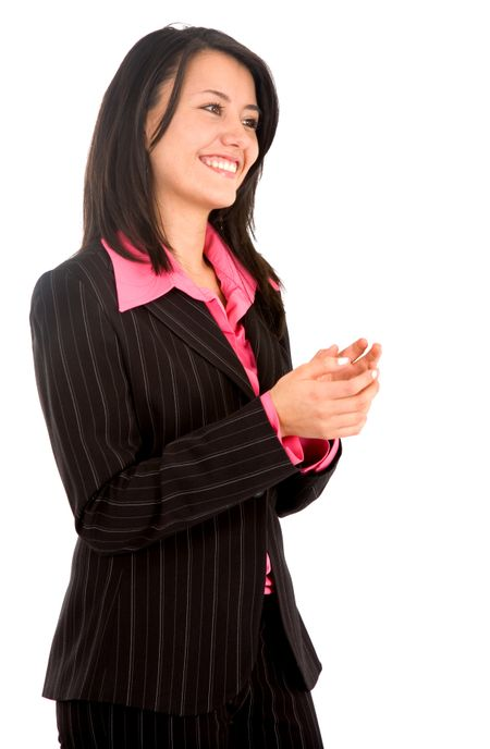 business woman clapping and smiling over a white background