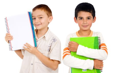 school boys with notebooks isolated over white