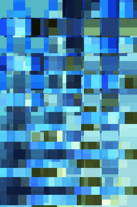 Mosaic abstract of many rectangles and squares of various sizes, mostly greens and blues, for decoration and background with motifs of multiplicity and urban layout