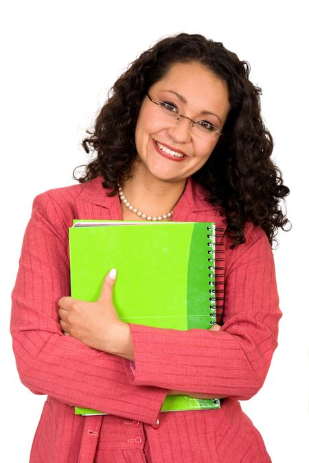 business woman with notebook in red over a white background
