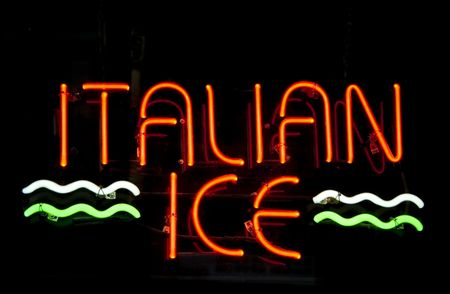 Neon sign in window: ITALIAN ICE