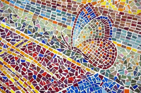Detail of outdoor mosaic with butterfly