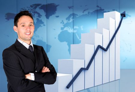 successful business man confident of his growth and success - statistics graph next to him