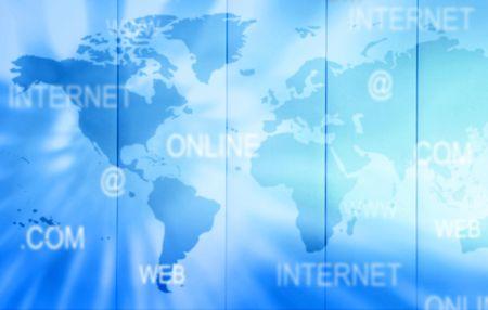 blue internet technology background - blurred