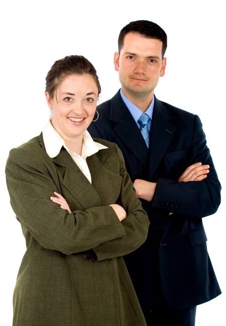 business partners - smiling over a white background